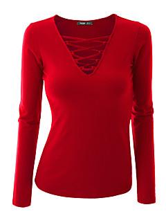 Γυναικεία Εξόδου Καθημερινά Μεγάλα Μεγέθη Σέξι Απλό Κομψό στυλ street Κανονικό Πουλόβερ,ΜονόχρωμοΜπλε Ροζ Κόκκινο Άσπρο Μαύρο Καφέ Γκρι