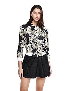 Women's Going out Casual/Daily Sophisticated Jackets,Floral Long Sleeve Black Cotton Polyester