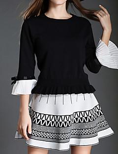 Damen Solide Niedlich Ausgehen Urlaub Set Rock Anzüge,Rundhalsausschnitt Herbst ¾-Arm Weiß Schwarz Baumwolle Mittel