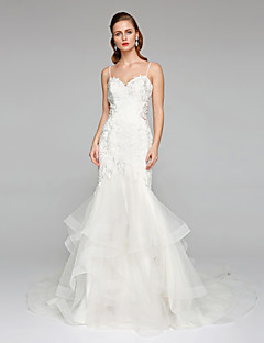 2017 Lanting Bride® Fit & Flare Wedding Dress - Chic & Modern See-Through Wedding Dresses Chapel Train Spaghetti Straps Lace Tulle
