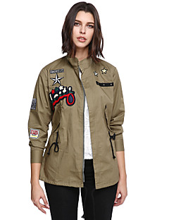 Women's Plus Size Going out Casual/Daily Sophisticated Jackets,Letter Long Sleeve Winter Green Cotton Polyester