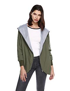 אחיד פשוטה ליציאה יום יומי\קז'ואל ז'קט נשים,ירוק שרוול ארוך כותנה פוליאסטר