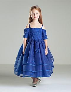 Princesa Até o Tornozelo Vestido para Meninas das Flores - Algodão Organza Decorado com Bijuteria com Miçangas Laço(s) Bordado