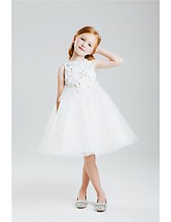 Princesa Até os Joelhos Vestido para Meninas das Flores - Algodão Renda Sem Mangas Decorado com Bijuteria comLaço(s) Bordado Renda