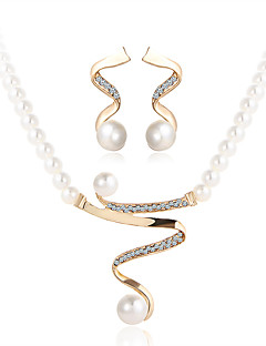 Jewelry Set Crystal Luxury Costume Jewelry Pearl Imitation Pearl Rhinestone Imitation Diamond Alloy 1 Necklace 1 Pair of Earrings For
