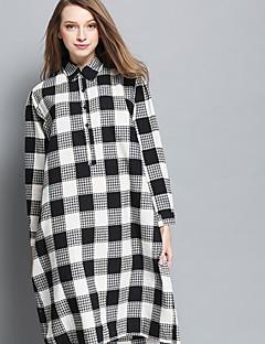 Höst Rutig Långärmad Ledigt/vardag Skjorta,Enkel Dam Kinakrage Bomull Medium Svart