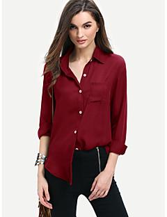 Feminino Camisa Social Casual Simples Primavera,Sólido Vermelho Poliéster Decote Quadrado Manga Longa
