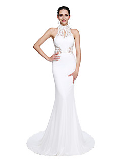 2017 TS Couture® Prom Formal Evening Dress - See Through / Beautiful Back Trumpet / Mermaid High Neck Court Train Jersey with Appliques / Beading