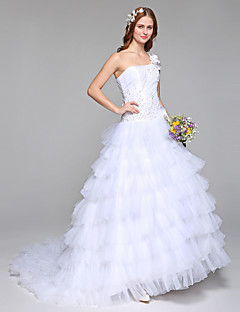 Ball Gown Wedding Dress Simply Sublime Floor-length One Shoulder Lace Tulle with Beading Flower