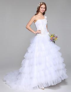 Da ballo Vestito da sposa Semplicemente divina Lungo Monospalla Di pizzo Tulle con Perline Fiore decorativo