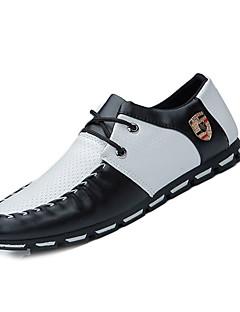 Herren-Loafers & Slip-Ons-Lässig-PU-Flacher Absatz-Komfort-Schwarz Weiß