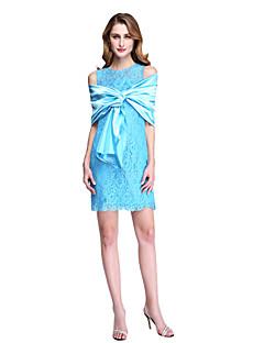 Lanting Bride® Eng anliegend Brautmutterkleid - Wickeltuch inklusive Kurz / Mini Ohne Ärmel Spitze Stretch - Satin  -  Spitze