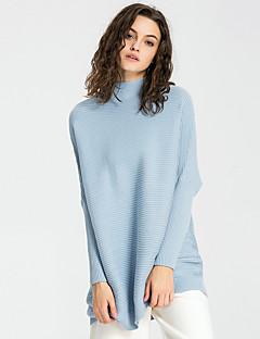 Damen Lang Pullover-Ausgehen Lässig/Alltäglich Urlaub Einfach Street Schick Anspruchsvoll Solide Gestreift Blau Beige Grau Lila Ständer
