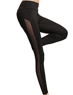 Women Solid Color Cross - spliced Legging,Mesh Polyester