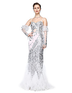 2017 TS Couture® Formal Evening Dress - Sparkle & Shine Sheath / Column Spaghetti Straps Floor-length Tulle Sequined with Sequins Pleats