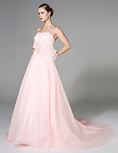 LAN TING BRIDE A-line Wedding Dress - Chic & Modern Open Back Wedding Dress in Color Court Train Strapless Organza withAppliques Bow Sash