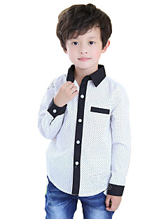Boy's Cotton Fashion Solid Color Spring/Fall/Winter Going out/Casual/Daily Dot Lapel Long Sleeve Shirt Kid Blouse