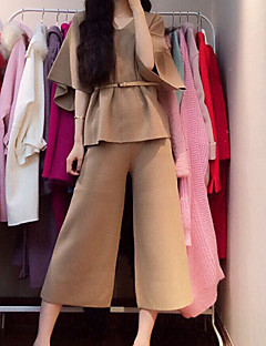 女性 お出かけ カジュアル/普段着 ワーク 夏季 シャツ パンツ スーツ,シンプル キュート ストリートファッション ハートカット ゼブラプリント ポリエステル ナイロン 五分袖 ロング