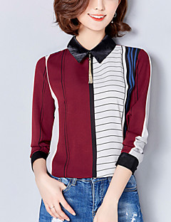 Women's Plus Size Work Street chic Spring /Fall Slim Blouse Striped Patchwork Square Neck Long Sleeve Red /Green Polyester Medium
