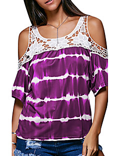 여성 패치 워크 라운드 넥 짧은 소매 티셔츠,섹시 스트리트 쉬크 데이트 캐쥬얼/데일리 퍼플 폴리에스테르 여름 가을 중간