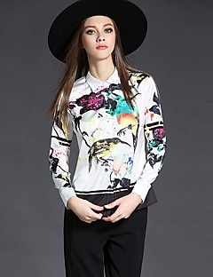 Women's Casual/Daily Work Vintage Simple Summer Shirt,Print Shirt Collar Long Sleeve White Polyester Thin