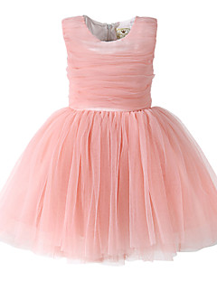 Girl Pink/Red Grenadine Pleated Holiday Dress