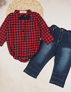 Dreng Indstiller I-byen-tøj Afslappet/Hverdag Ferie Houndstooth mønster,Bomuld Polyester Alle årstider Langærmet Tøjsæt