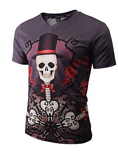 Herren Druck Boho Street Schick Punk & Gothic Ausgehen Lässig/Alltäglich Urlaub T-shirt,V-Ausschnitt Frühling Sommer Kurzarm Mehrfarbig