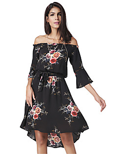 Women's Casual/Daily Holiday Simple Street chic Chiffon DressFloral Boat Neck Asymmetrical  Length Sleeve Flare Sleeve Nylon Black Dress