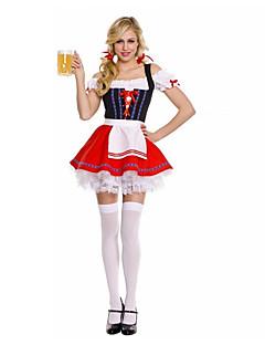 Cosplay Kostýmy / Kostým na Večírek Pokojská / Oktoberfest Festival/Svátek Halloweenské kostýmy Červená Jednobarevné ŠatyHalloween /