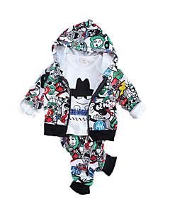 Для мальчиков Наборы На каждый день Спорт Хлопок С принтом Весна Осень Длинный рукав Набор одежды