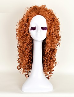 Free Shipping 25.59 Inch Women'S Synthetic Hair Long Orange Curly Anime Movie Brave MERIDA Cosplay Wigs