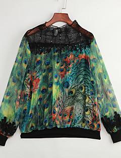 דפוס צווארון עגול קצר וינטאג' ליציאה חולצה נשים,אביב שרוול ארוך ירוק דק כותנה פוליאסטר