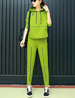 Feminino Tamanhos Grandes activewear Set Casual Esportivo Activo Fofo Sólido Retalhos Decote V Algodão Fibra Sintética ElastanoSem
