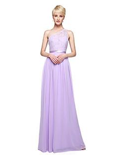 Lanting Bride® Longo Chiffon Elegante Vestido de Madrinha - Tubinho Mula Manca com Apliques Faixa / Fita Pregas