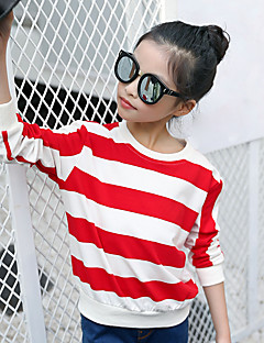 Girl's Fashion Going out Casual/Daily Holiday Striped Tee Spring/Fall Children Cotton Long Sleeve Color Block Shirt Blouse
