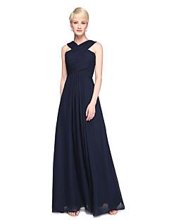 Lanting Bride® Knöchel-Länge Chiffon Elegant Brautjungfernkleid - A-Linie V-Ausschnitt mit Plissee