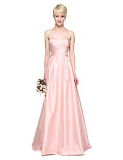 Lanting Bride® Longo Tafetá Elegante Vestido de Madrinha - Linha A Coração com Pregas