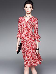 Žene Ulični šik Izlasci Plus veličine Swing kroj Haljina,Print ¾ rukava V izrez Do koljena Crvena Poliester Proljeće Ljeto Normalan struk