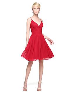 Lanting Bride® באורך  הברך שיפון אלגנטי שמלה לשושבינה  - גזרת A רצועות ספגטי עם קפלים