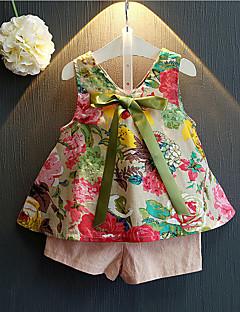 Kız Çocuk Günlük/Sade Pamuklu Suni İpek Desen Yaz Kolsuz Setler Kıyafet Seti