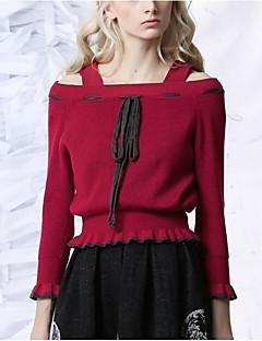 Damen Standard Pullover-Lässig/Alltäglich Retro Solide Rot Schwarz Bateau Langarm Polyester Frühling Winter Mittel Mikro-elastisch