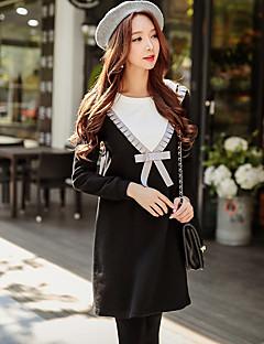 Damen Pullover Lässig/Alltäglich Ausgehen Einfach Street Schick Niedlich Einfarbig Patchwork Rundhalsausschnitt Mikro-elastisch Baumwolle
