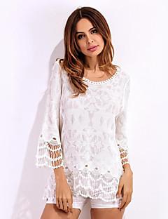 Feminino Camiseta Praia Boho Verão,Jacquard Branco Poliéster Decote em V Profundo Manga Longa Leve Transparência