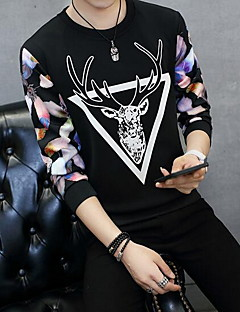 Men's Casual/Daily Sweatshirt Print Round Neck Micro-elastic Cotton Long Sleeve Spring Summer