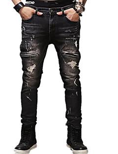 メンズ シンプル ミッドライズ タイト マイクロエラスティック ジーンズ パンツ 引き裂かれました ソリッド