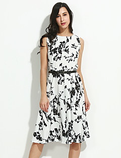 Women's Casual/Daily Vintage / Simple Sheath / Skater Dress,Floral Round Neck Knee-length Sleeveless White Cotton All Seasons Mid Rise