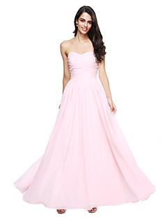 LAN TING BRIDE 바닥 길이 스윗하트 신부 들러리 드레스 - 오픈 백 민소매 쉬폰