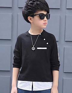 Boy Casual/Daily Color Block Tee,Cotton Spring Fall Long Sleeve