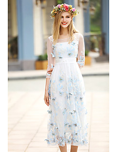 Moulante Robe Femme Vacances Sortie simple,Motif Animal Col Arrondi Midi ½ Manches Bleu Rose Polyester Printemps Taille NormaleNon